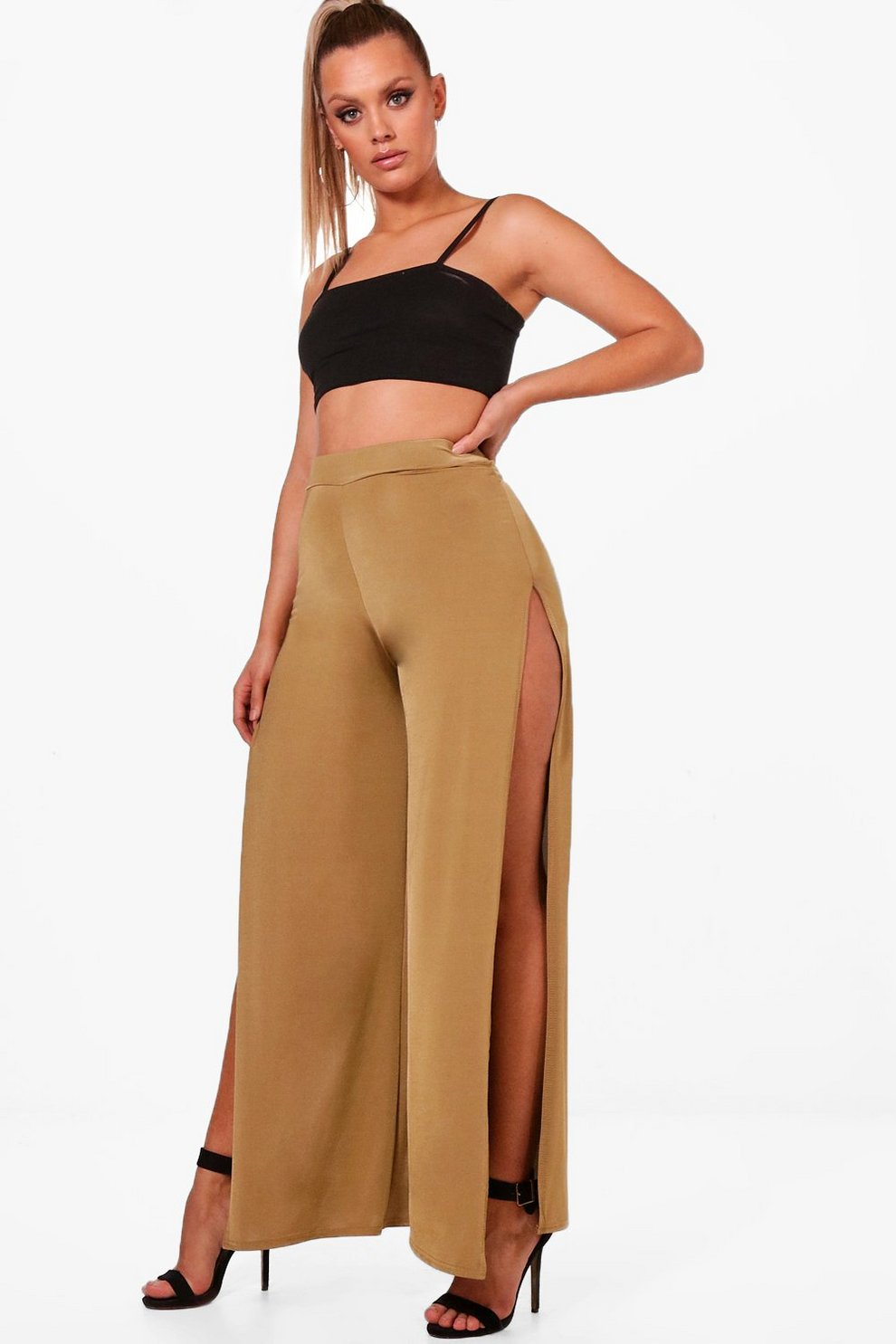 Cheap Price From China Boohoo Plus Slinky Split Wide Leg Trouser Get Authentic Sale Online Buy Cheap Low Shipping Sale Visit Genuine UhYIb