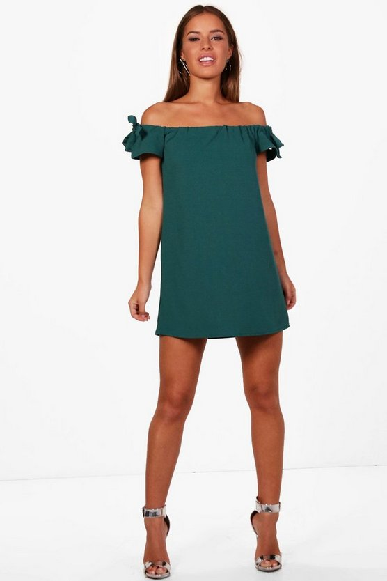 Petite Jen Off The Shoulder Tie Sleeve Dress
