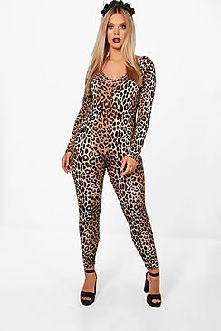 Plus Leah Halloween Leopard Print Catsuit