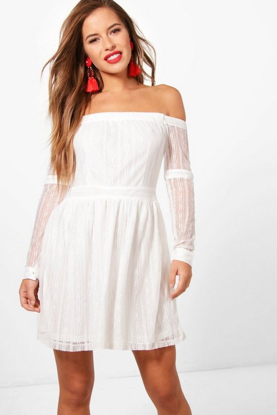 Petite Hellie Off The Shoulder Lace Skater Dress
