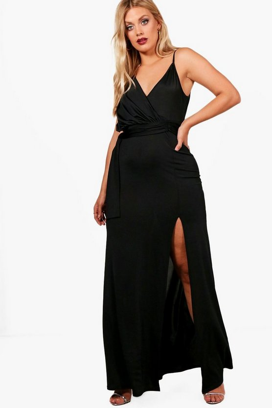 Plus Ellie Slinky Wrap Tie Waist Maxi Dress