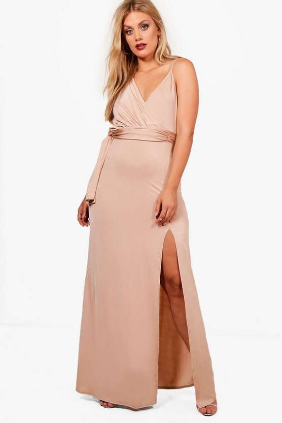 Plus Slinky Wrap Tie Waist Maxi Dress