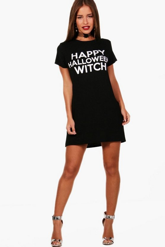 Petite Jane Halloween Slogan T-shirt Dress