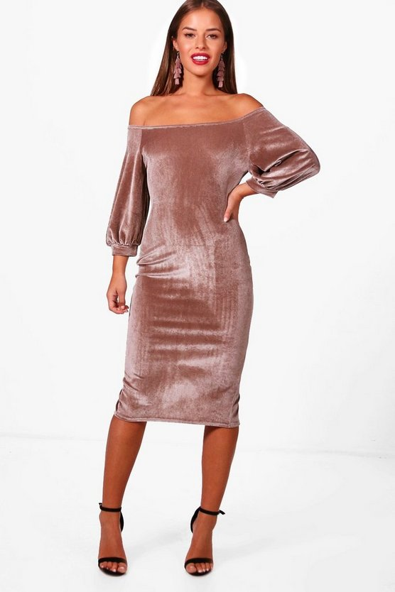 Petite Amanda Puff Sleeve Velvet Bodycon Dress