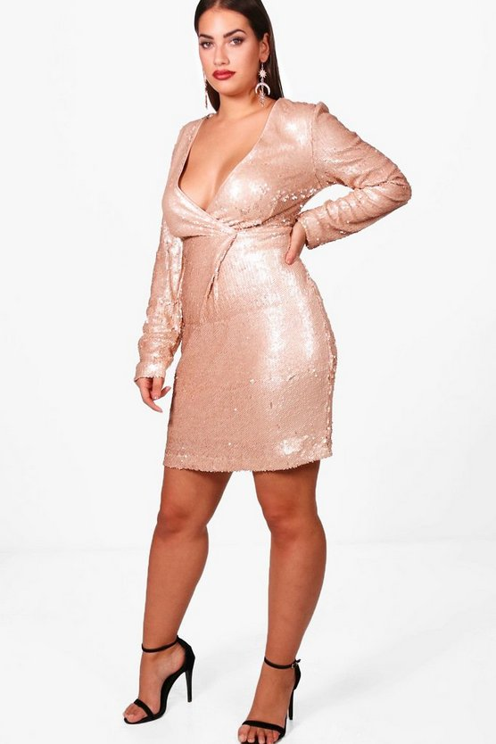 Plus Megan Wrap Sequin Dress
