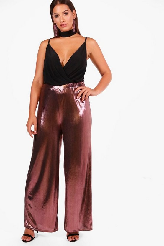 Plus High Shine Wide Leg Trouser