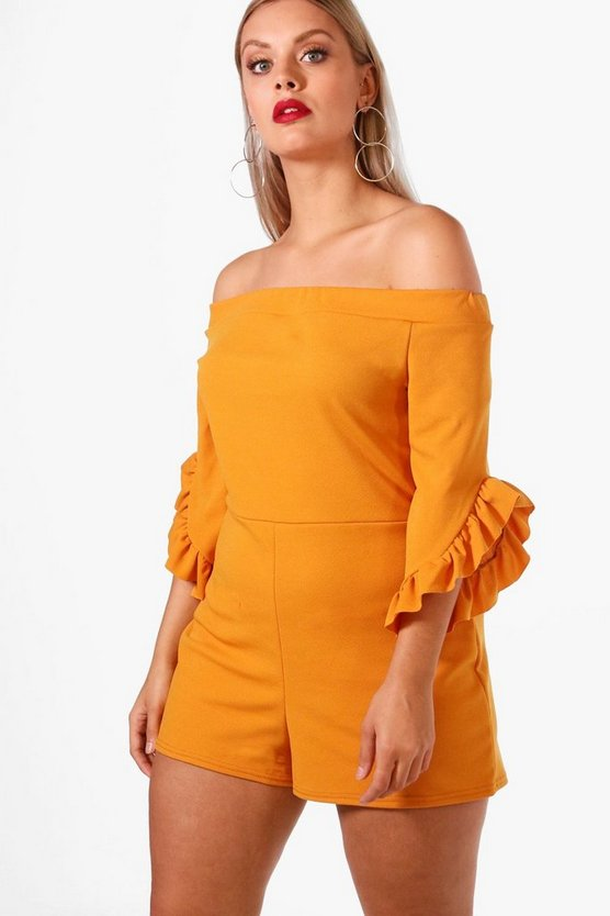 Plus Off The Shoulder Frill Sleeve Playsuit