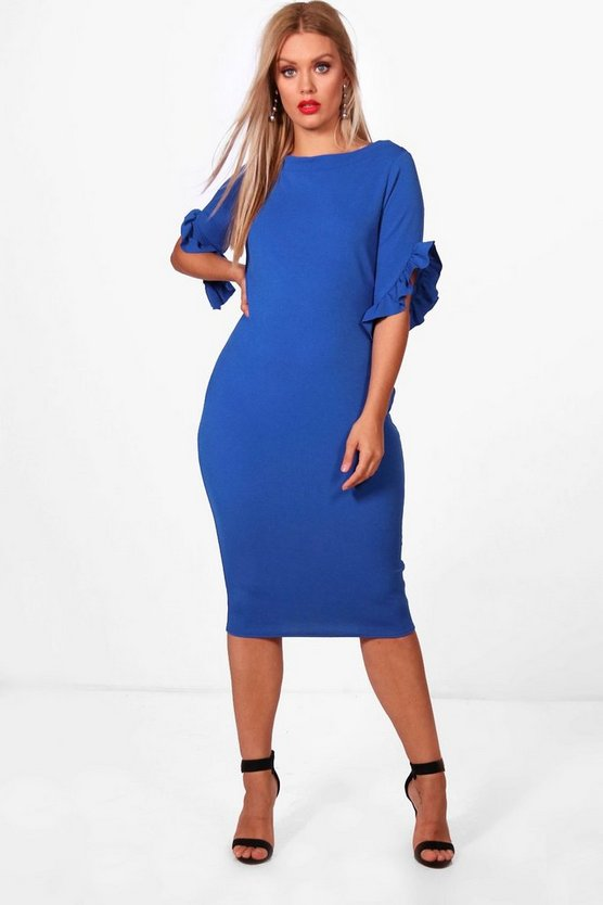 Plus Rachel Boat Neck Frill Sleeve Midi Dress