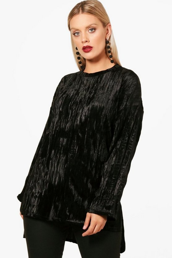 Plus Rachel Velvet Crinkle Tunic Top