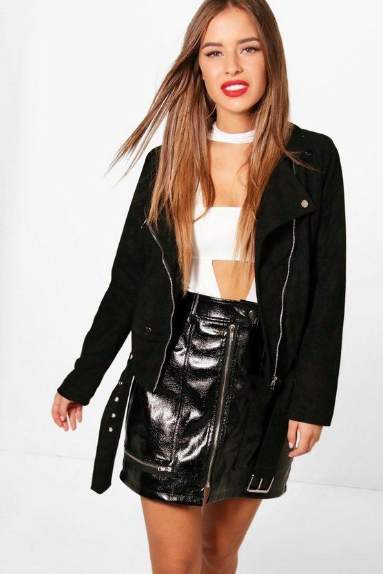 Petite Sarah Winter Suedette Belted Biker Jacket