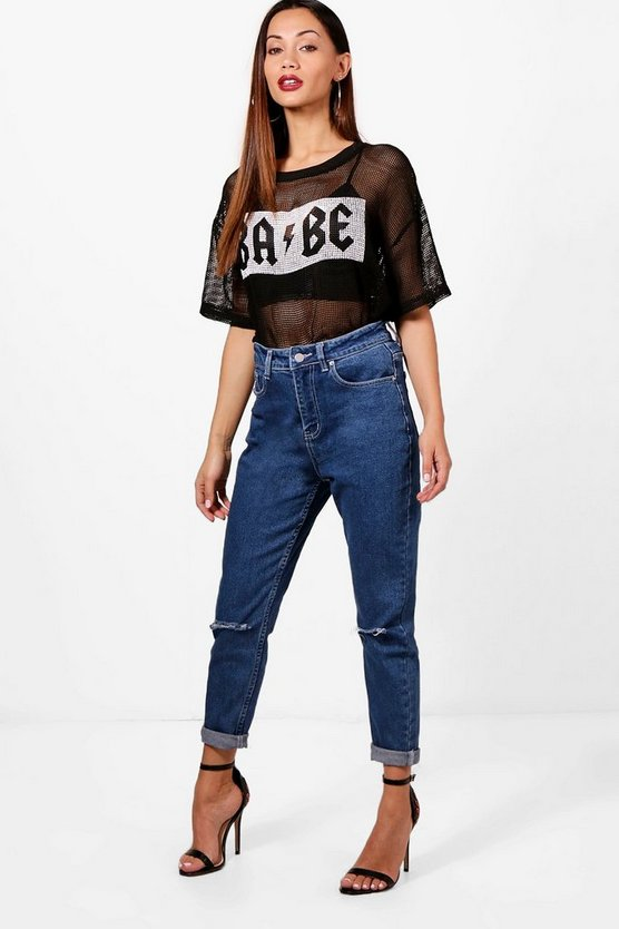Petite Sophia Rip Knee High Waisted Mom Jeans
