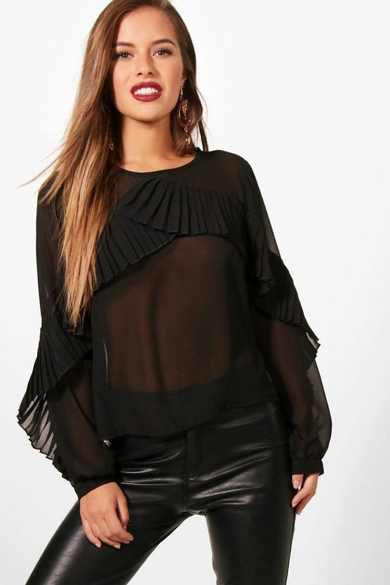 Petite Frill Front Long Sleeve Blouse