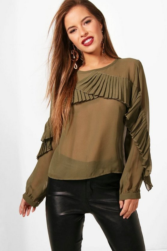 Petite Freya Frill Front Long Sleeve Blouse
