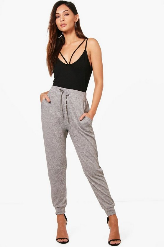 Petite Shannon Melange Button Relaxed Jogger