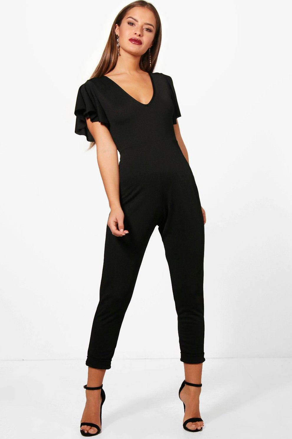 Boohoo Petite Plunge Neck Frill Sleeve Jumpsuit Free Shipping Collections High Quality For Sale Buy Cheap Shop Offer LFm5Xr