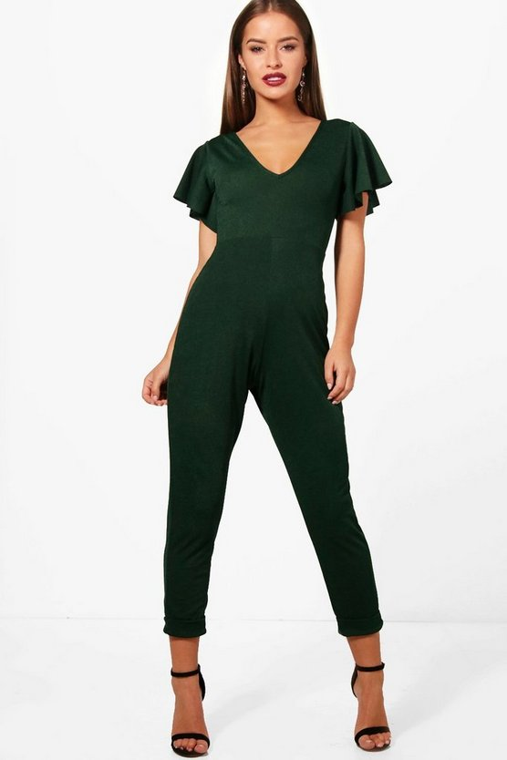 Petite Fay Plunge Neck Frill Sleeve Jumpsuit