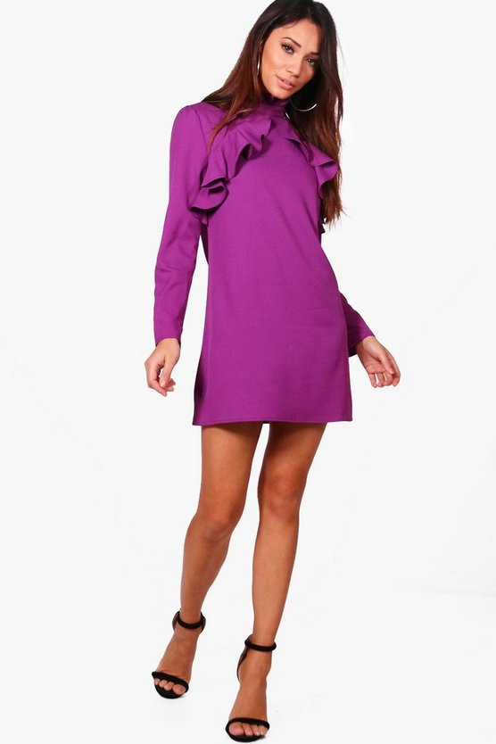 Petite Jess Ruffle Collar Frill Shift Dress
