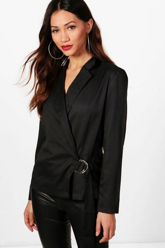 Petite Lisa O Ring Tailored Wrap Blazer