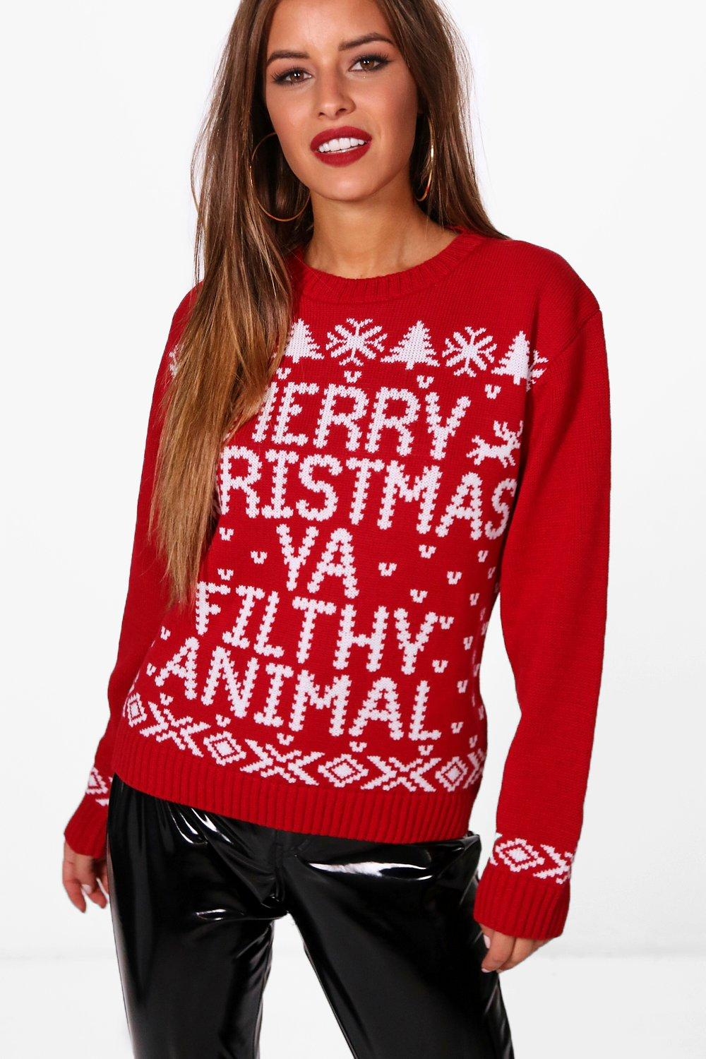 petite eve merry christmas ya filfy animal jumper | boohoo