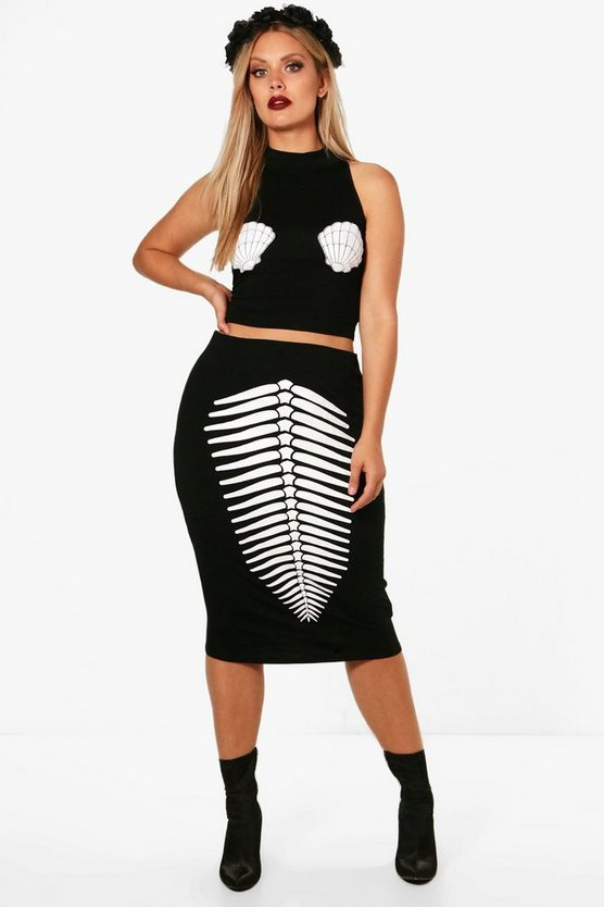 Plus Hollie Mermaid Skeleton Halloween Co-ord Set
