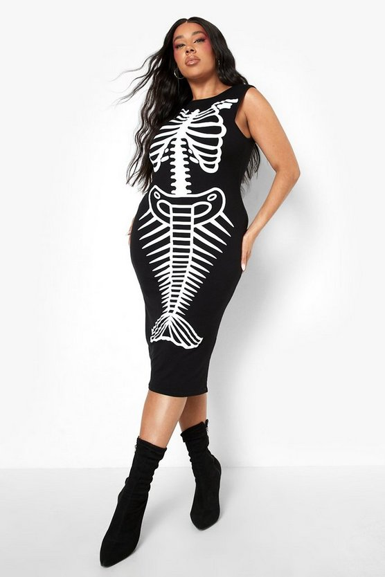 Plus Imogen Mermaid Skeleton Halloween Midi Dress