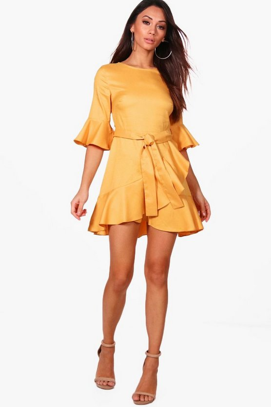 Petite Laura Frill Sleeve Wrap Skater Dress