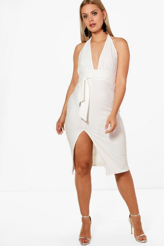 Plus Melissa Crepe Plunge Tie Waist Midi Dress