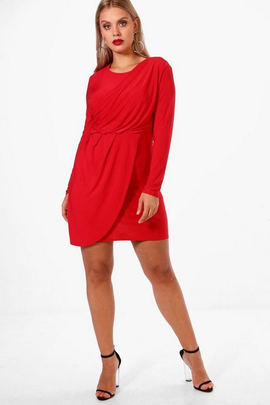 Plus Jen Slinky Shoulder Pad Wrap Dress