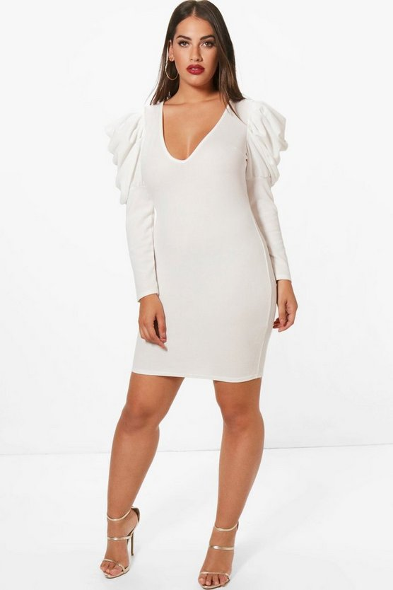 Plus Maisy Ruched Shoulder Midi Dress