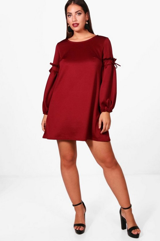 Plus Rhiannon Ruched Sleeve Shift Dress