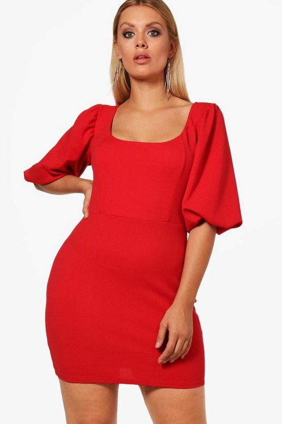 Plus Jo Puff Shoulder Bodycon Dress