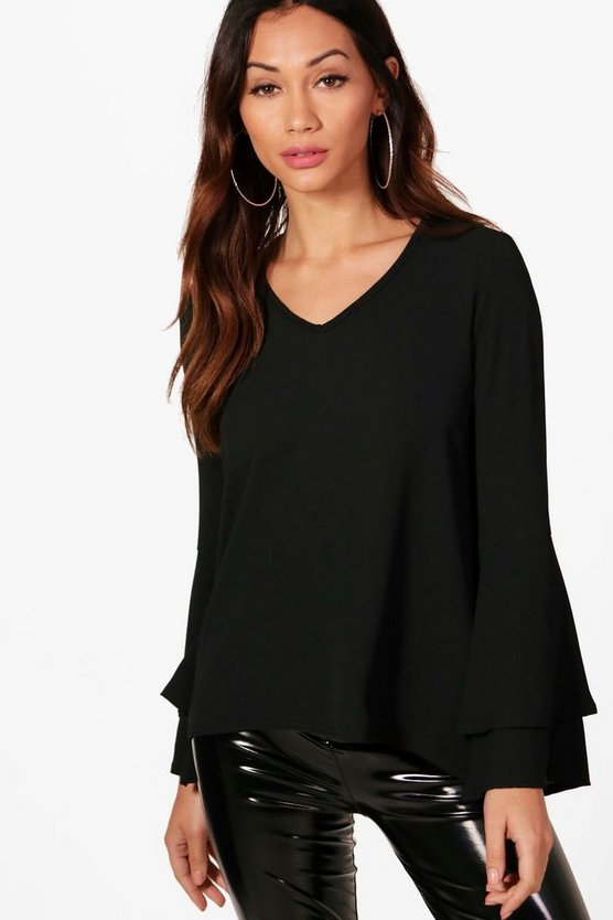 Petite Shelby Woven Flute Sleeve Neck Top