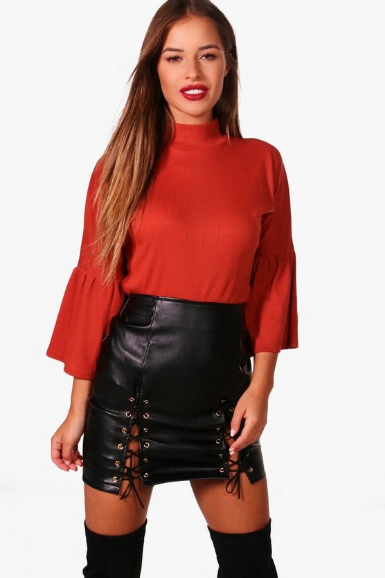 Petite Katie Volume Sleeve Turtleneck Top