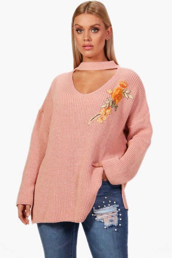 Plus Amelia Plus Choker Embroidered Jumper