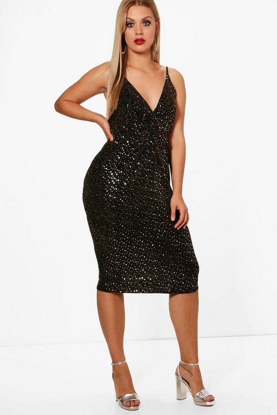Plus Katie Sequin Knot Detail Wrap Dress