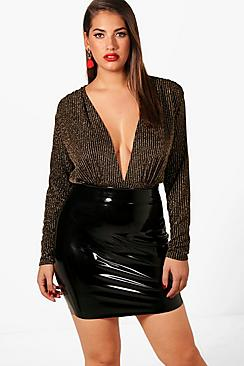 Plus Jennifer Shimmer Plunge Bodysuit