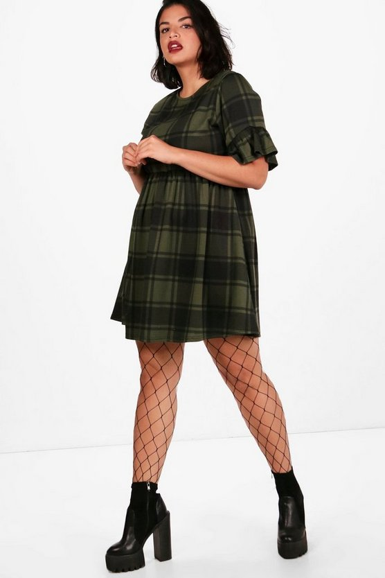 Plus Megan Tartan Frill Sleeve Smock Dress