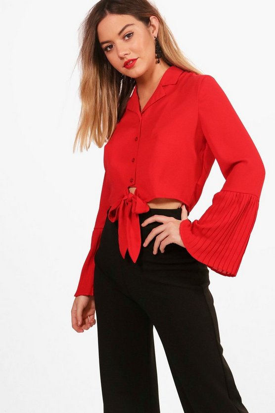 Petite Gabby Pleated Sleeve Tie Front Shirt