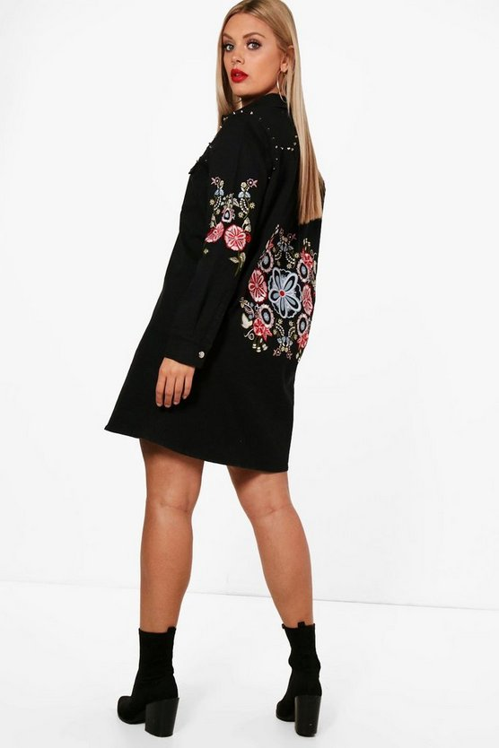 Plus Hannah Embroidered Studded Denim Shirt Dress