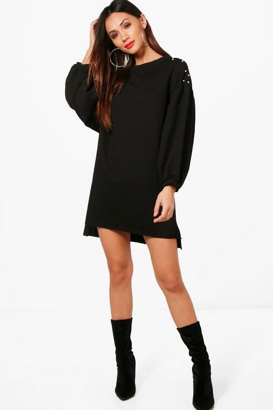 Petite Katie Pearl Stud Oversized Sleeve Dress