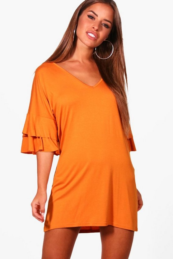 Petite Becca Ruffle Sleeve Plunge T-Shirt Dress
