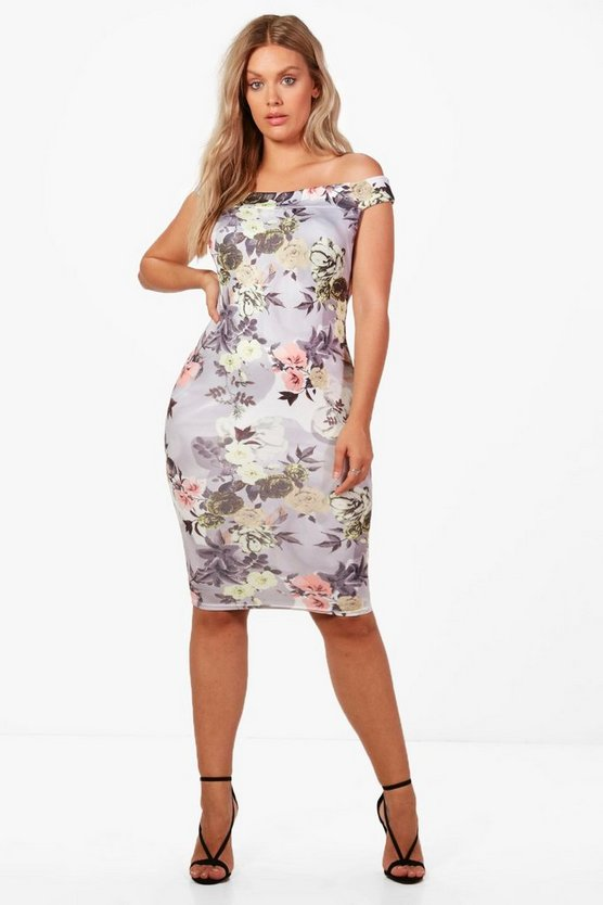 Plus Eve Off Shoulder Floral Midi Bodycon Dress