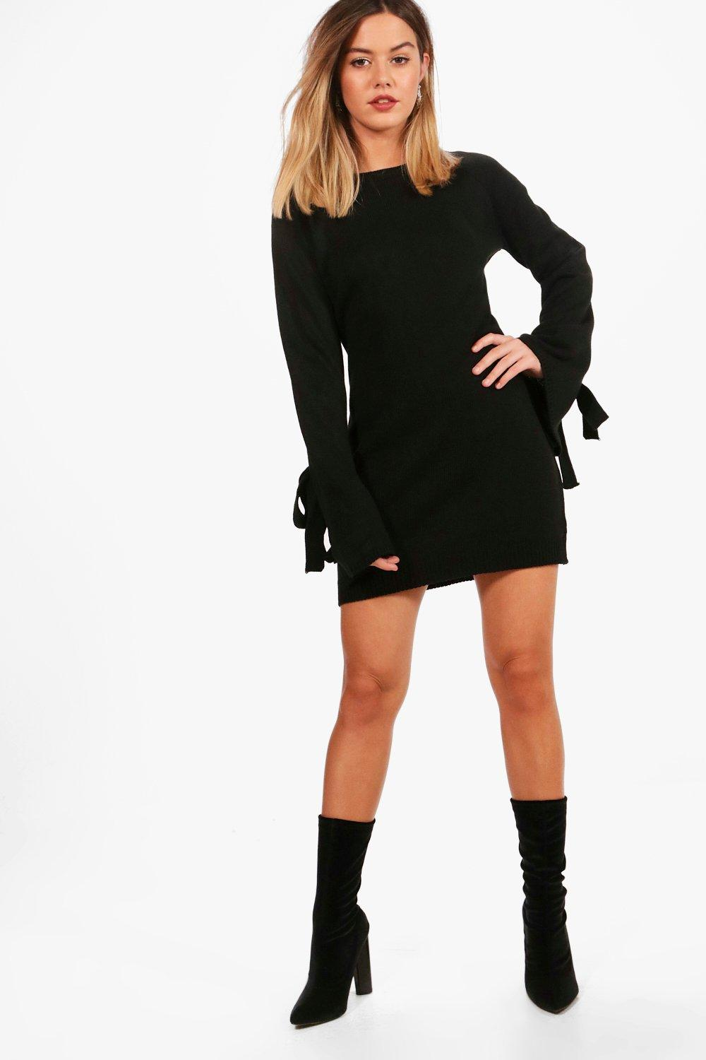 petite melissa tie sleeve jumper dress | boohoo