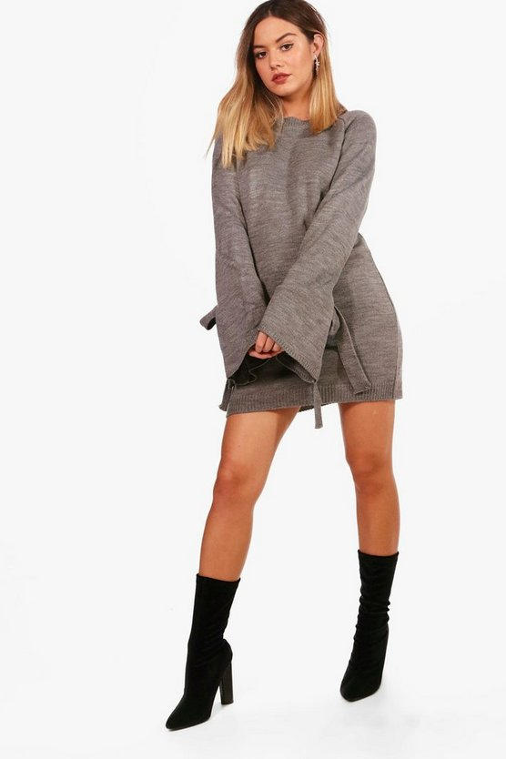 Petite Tie Sleeve Jumper Dress