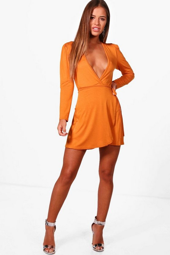 Petite Leanne Plunge Wrap Skater Dress