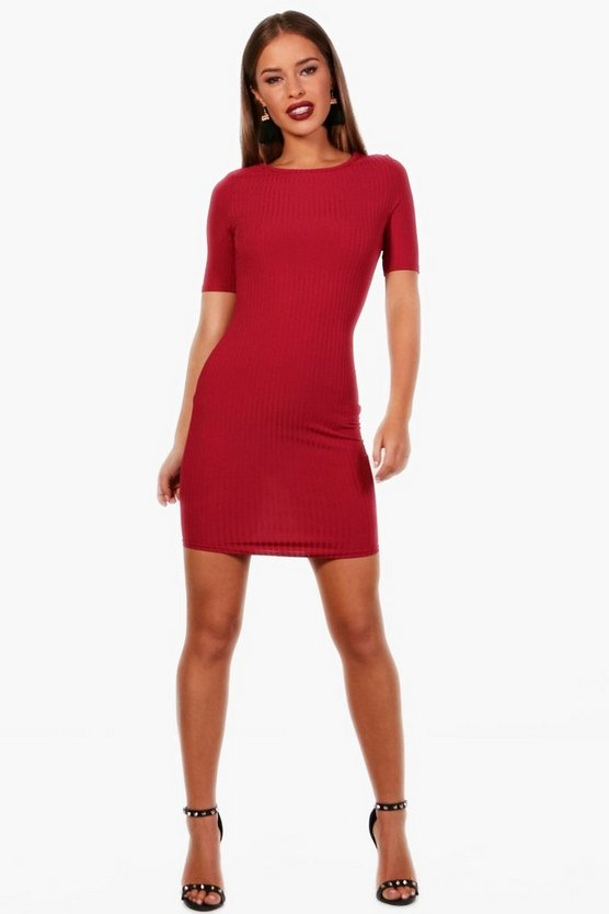 Petite Harriet Curved Hem Ribbed Dress