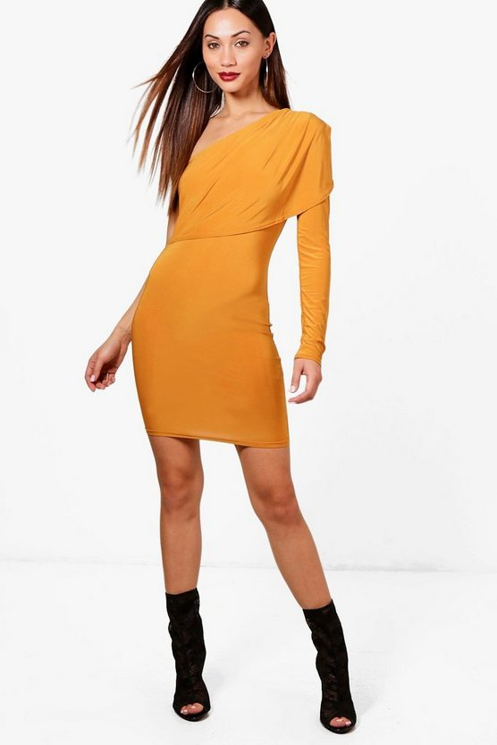 Petite Cassy Slinky Asymmetric Mini Dress