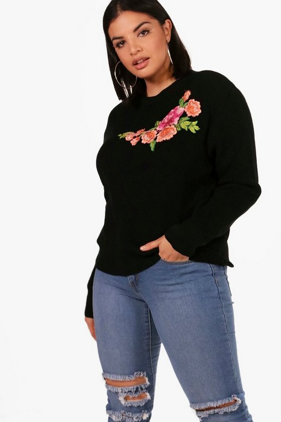 Plus Katie Embroidered Front Jumper