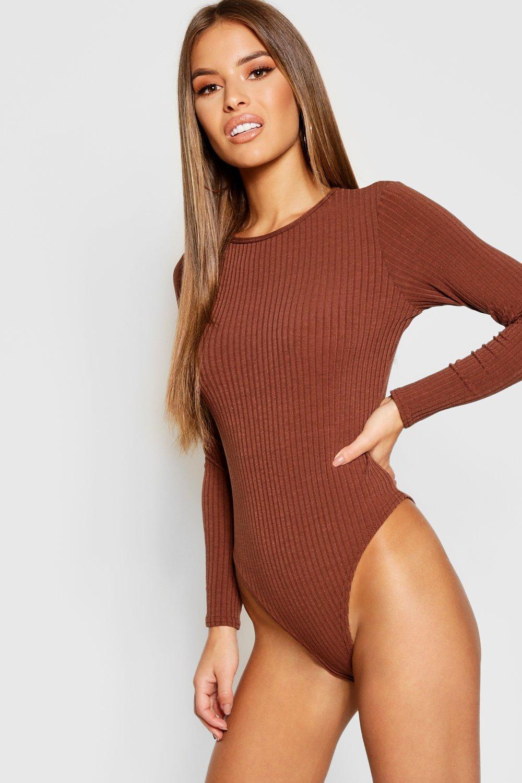 Womens Petite Body aus Rippstrick - chocolate - 40, Chocolate - Boohoo.com