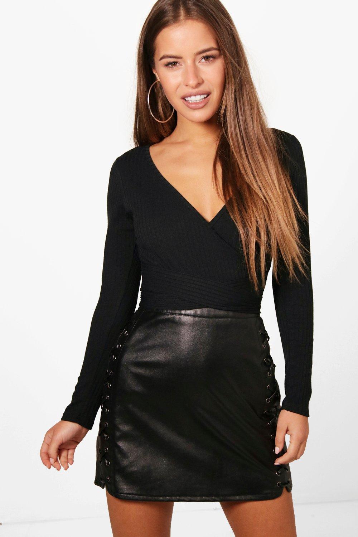 Womens Petite Knitted Wrap Bodysuit - black - 40, Black - Boohoo.com